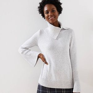 Loft Split Turtleneck Flare Sleeve Sweater